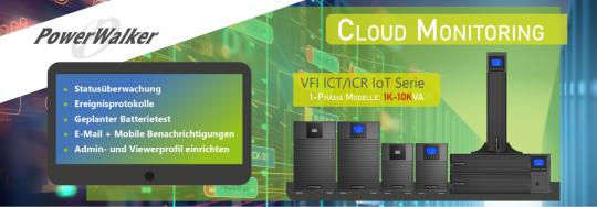 """Online USV PowerWalker VFI IC IoT, Reiner Sinus, LCD Display, USB u. RS232 Desktop oder 19"""""""
