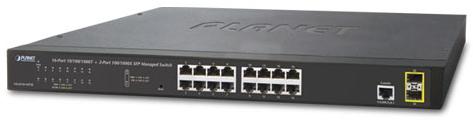 "16+2 Port SFP Gigabit Switch, Layer2, 19"" GS-4210-16T2S"
