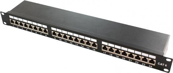 "Patchpanel 19""  24 Port  1HE  Cat.6a 500 Mhz, schwarz"
