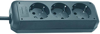 3-fach Steckdosenleiste Eco-Line, schwarz mit 1,5 m Zuleitung