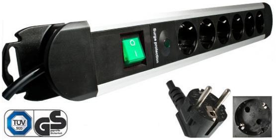 6-fach Steckdosenleiste, schwarz/Alu mit 1,4 m Zuleitung, mit Schalter