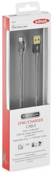 iPhone® Lightning-USB Daten-/Ladekabel, Nylon Mantel; 1,0 m, MFI zertifiziert