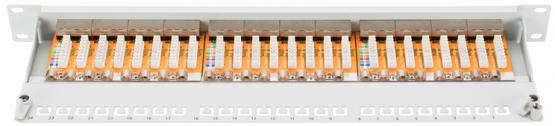 "24 Port Patchpanel Cat. 6 19"", 1 HE, grau"