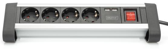 4-fach Steckdosenleiste schwarz/silber mit Schalter und 2 x USB Anschluß (5V/2A)
