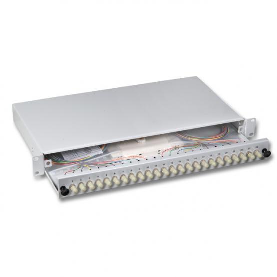 """LWL Spleißbox 19"""" 24 x ST     1 HE, bestückt, ausziehbar OS2"""