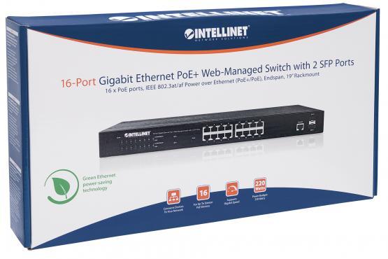 "16+2 Port SFP Gigabit PoE+ Switch, 19"", Power budget 220 Watt"