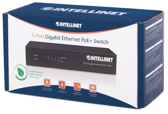 5 Port Gigabit PoE+ Switch, Desktop, Power budget 60 Watt
