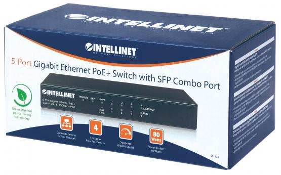 5+1 Port SFP Gigabit PoE+ Switch, Desktop, Power budget 80 Watt