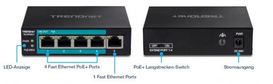 4+1 Port Fast Ethernet PoE+ Switch, TE-FP051, Long Range 250m, Powerbudget 60 Watt