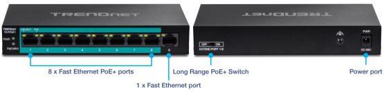 8+1 Port Fast Ethernet PoE+ Switch, TE-FP091, Long Range 250m, Powerbudget 60 Watt